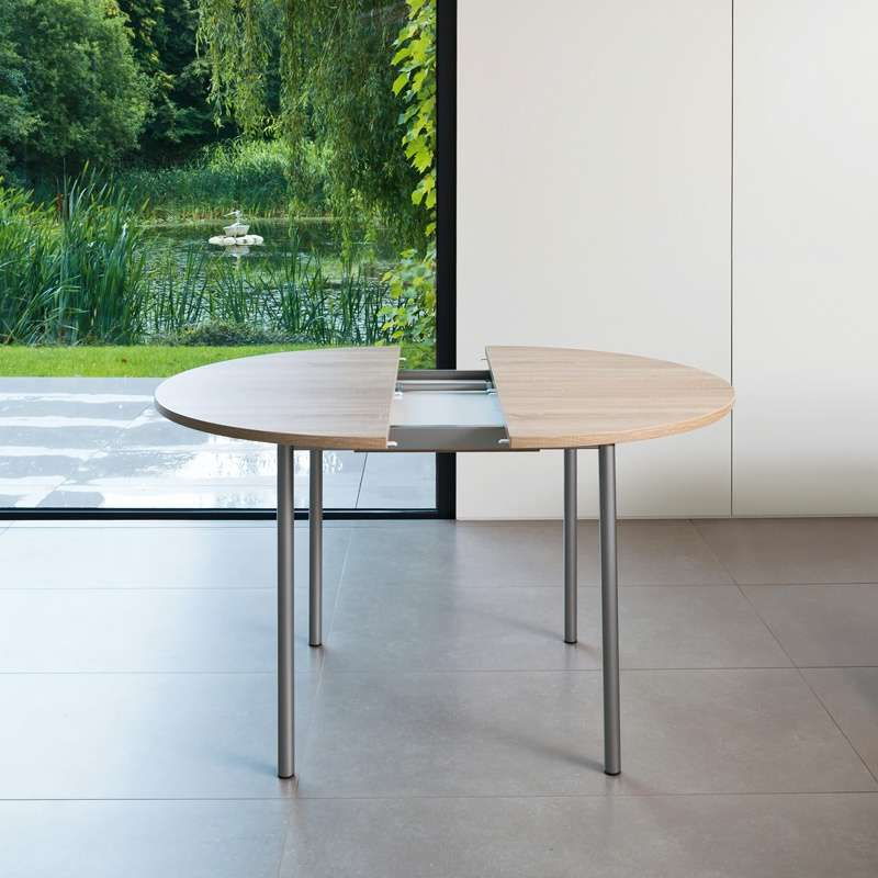 Table De Cuisine Ronde En Stratifie Avec Rallonge Basic 4