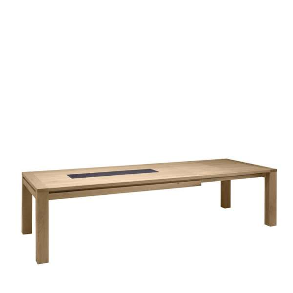 Table de salle à manger contemporaine en Chêne massif avec incrustation - Carrée ou Rectangle - 4