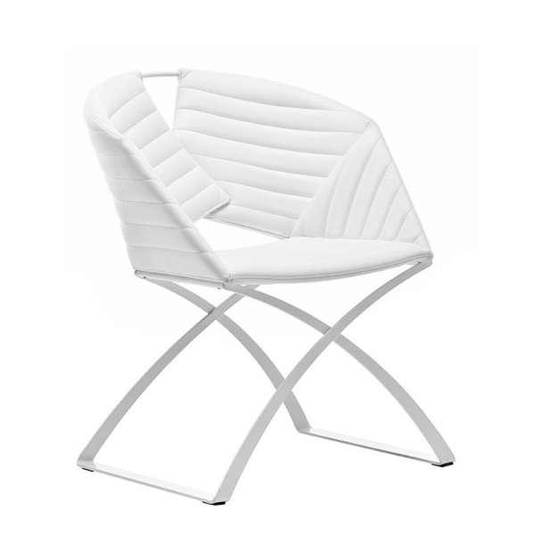 Fauteuil design pied métal synthétique blanc Portofino Midj® - 2