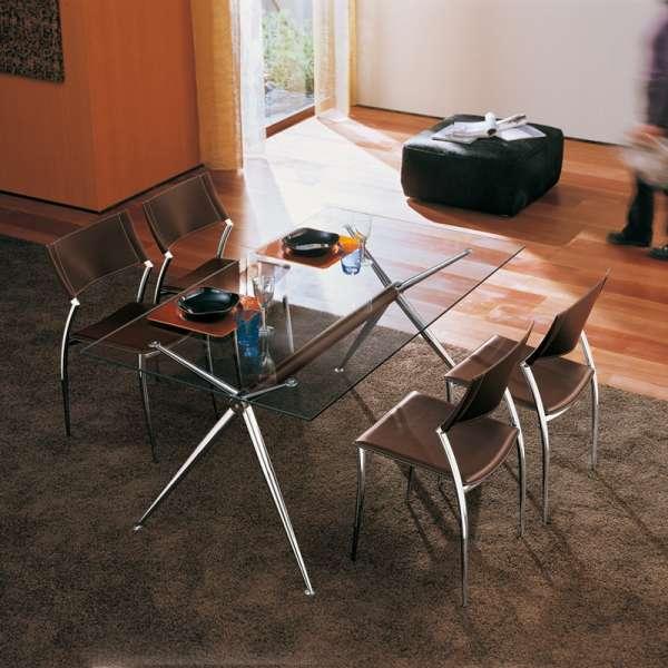 Table en verre transparent design avec pieds en x en métal chromé - Brioso Midj® - 3