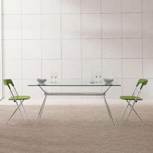 Table en verre design avec pieds en croix métalliques chromés - Brioso Midj® - 2