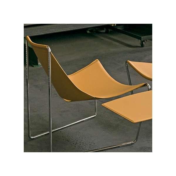 Chaise transat design en croûte de cuir et métal chromé - Apelle Midj® - 4
