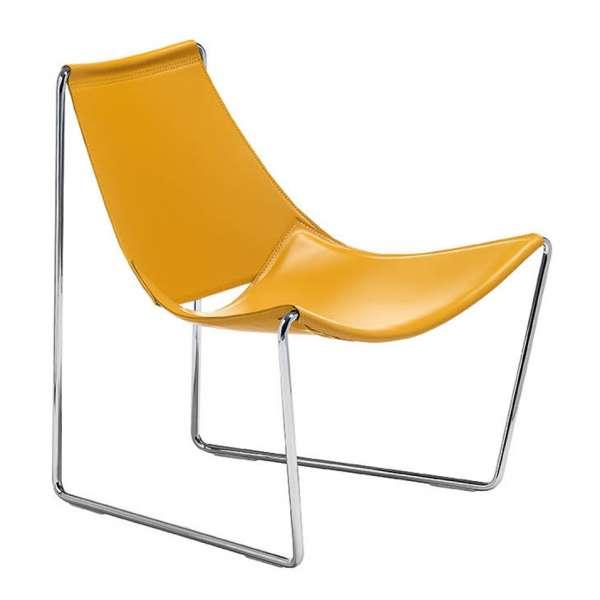 Chaise transat design en croûte de cuir jaune et métal - Apelle Midj® - 3