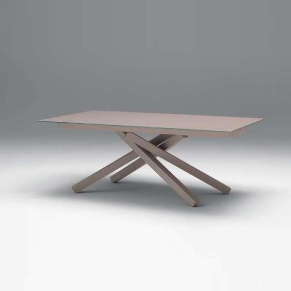 Table design extensible en verre trempé et piétement mikado en métal - Péchino Midj® - 2
