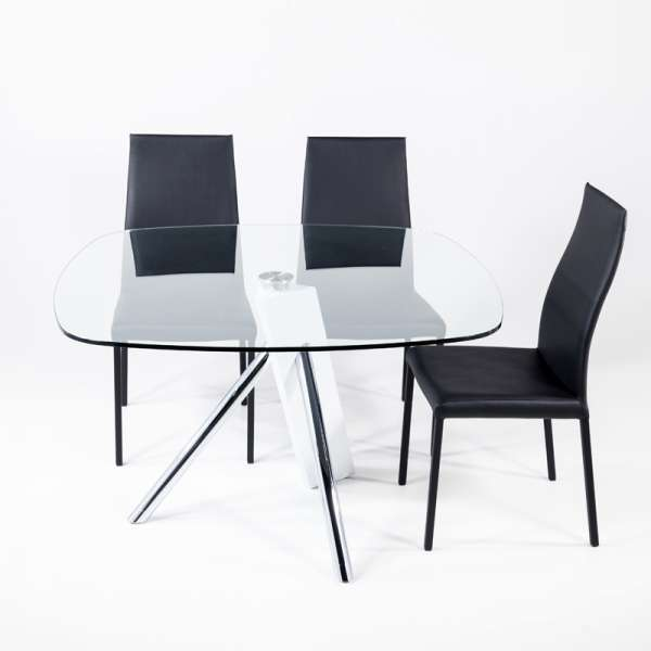 Table en verre design carré Tundra - 120 cm x 120 cm - 2