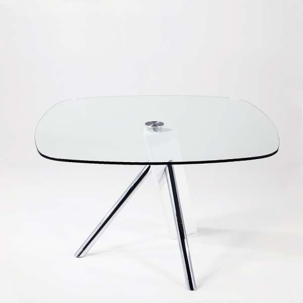 Table en verre design carré Tundra - 120 cm x 120 cm - 4