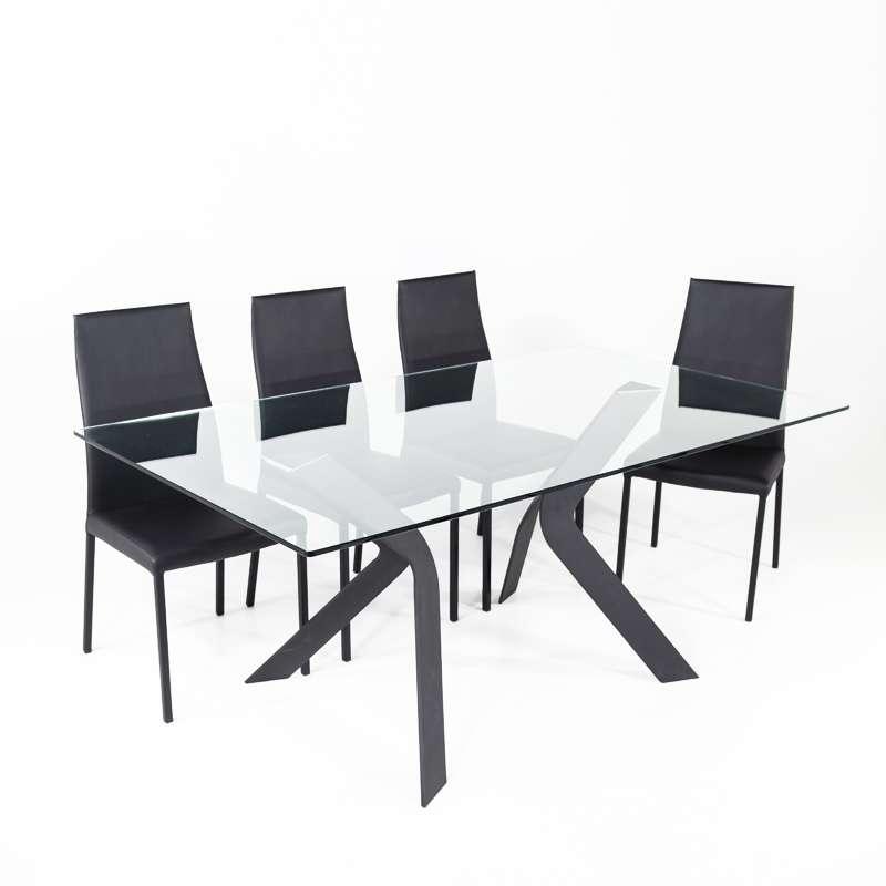 Table en verre design avec pieds en métal noir - Trendy | 4-pieds.com