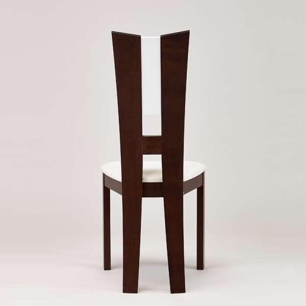 Chaise de salle à manger contemporaine en vinyle et bois massif - Floriane 4 - 5