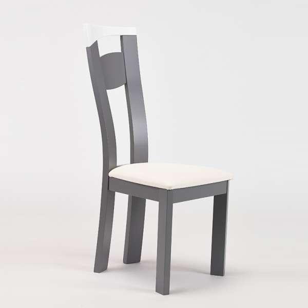 Chaise de salle à manger contemporaine en vinyle et hêtre massif - Calypso - 5