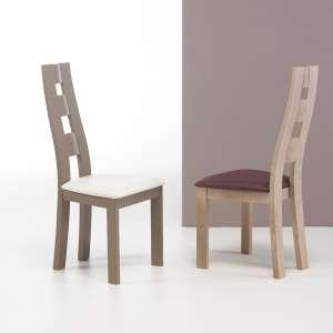 Chaise de salle à manger de fabrication française en vinyle et bois - Ambre