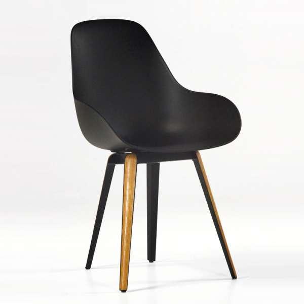 Chaise design scandinave en polypropylène métal et bois -  Slice Dimple Closed Kubikoff®