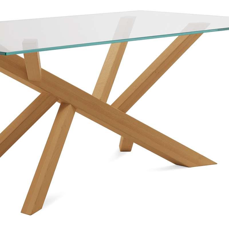 Table Bois Pied Blanc: Table Design En Verre Et Pieds Bois Tree Domitalia®
