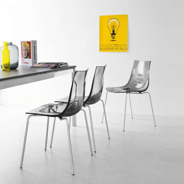Chaise design en métal et plexi - Led 4 - 4