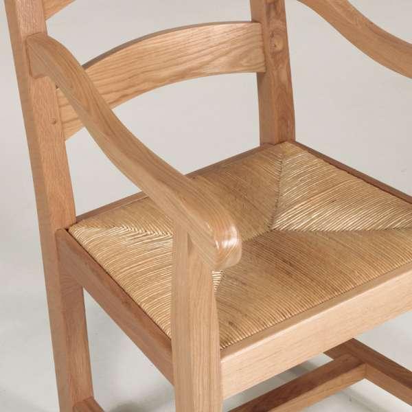 Fauteuil rustique français assise paille et bois massif - 832 - 4