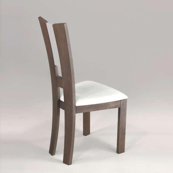 Chaise de salle à manger contemporaine en vinyle et bois massif - Floriane 2 - 3