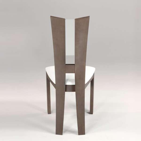Chaise de salle à manger contemporaine en vinyle et bois massif - Floriane 3 - 4