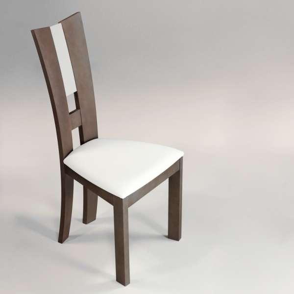 Chaise de salle à manger contemporaine en vinyle et bois massif - Floriane - 2
