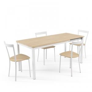 Table de cuisine extensible en mélaminé - hauteur 75 cm - Toy métal