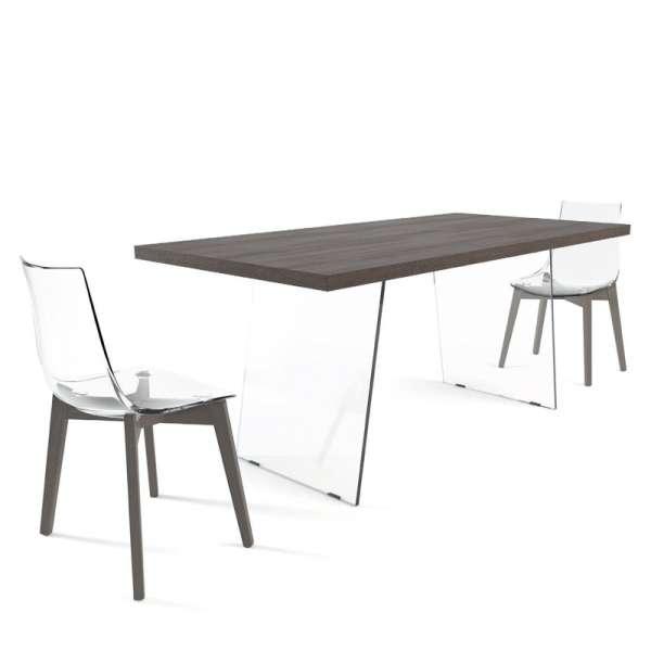 Table de séjour design en stratifié avec pieds en verre - Domo  - 8