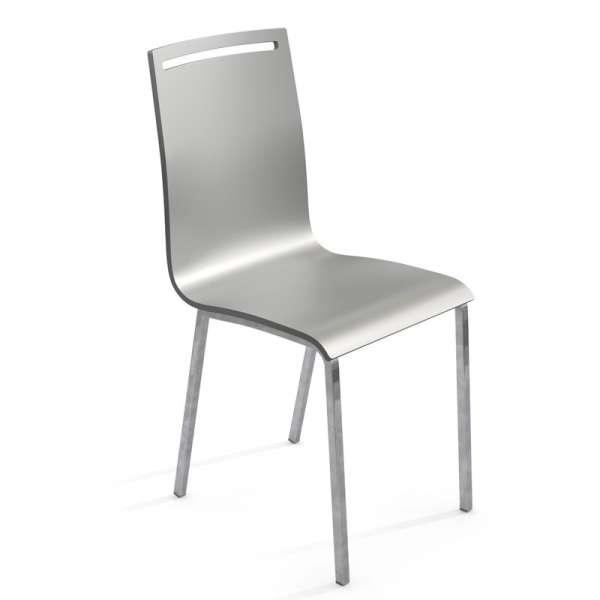 Chaise moderne en métal et bois laqué - Nera - 1
