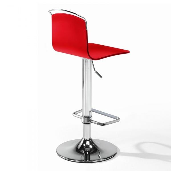 Tabouret moderne réglable métal chromé et bois rouge - Win - 3