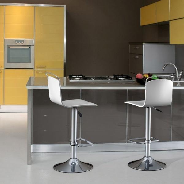 Tabouret moderne réglable métal chromé et bois - Win - 1