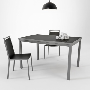 Table de cuisine en verre avec rallonge  - hauteur 75 cm - Toy métal