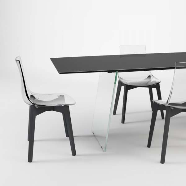 Table design en verre - forme elliptique - Domo 2 - 2
