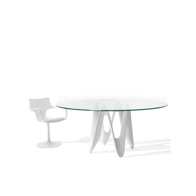 Table Ovale Design En Verre Lambda Sovet 4 Pieds Com
