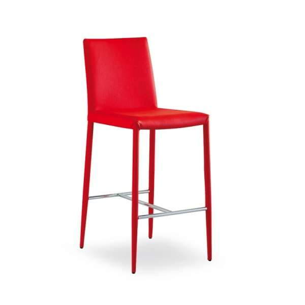 Tabouret contemporain en cuir rouge - Beo - 9
