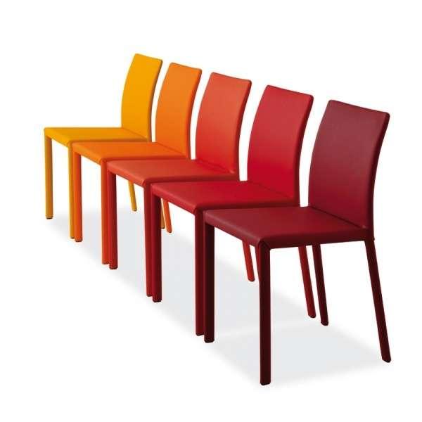 Chaise colorée en cuir - Kiris  - 4