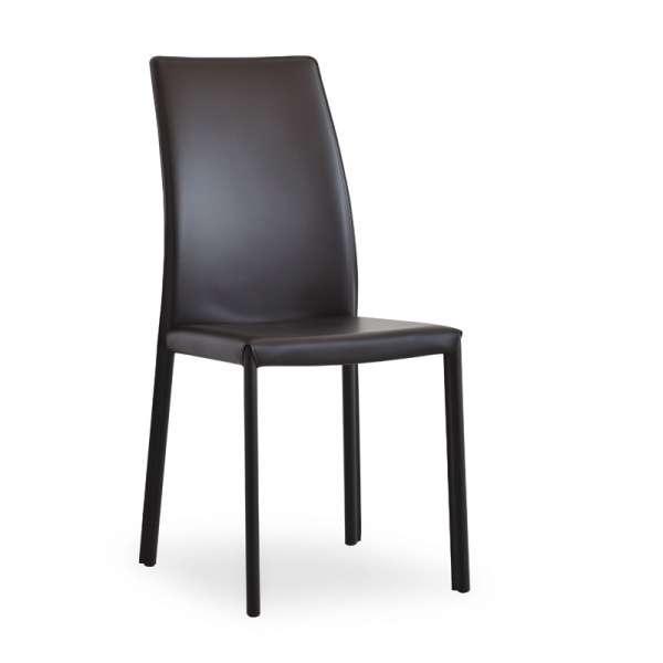 Chaise de salle à manger en croûte de cuir - Giada - 1
