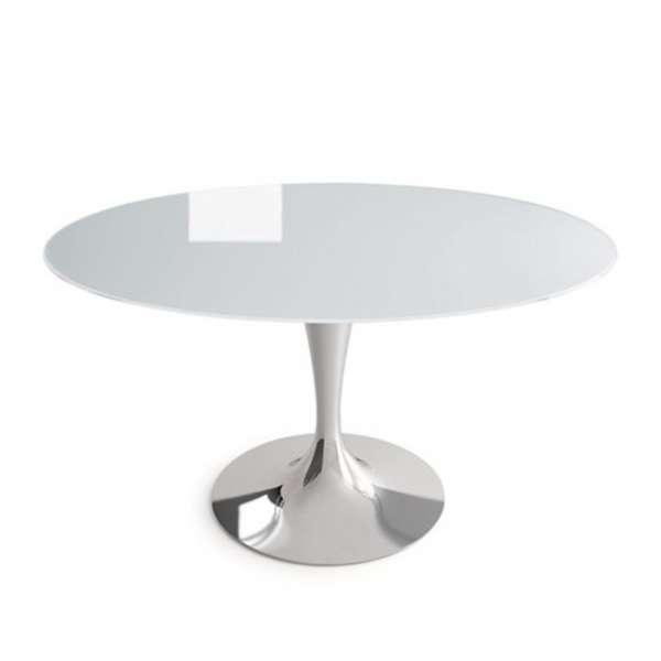 Table ronde design en verre blanc -  Flute Sovet® 6 - 4
