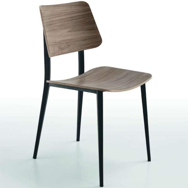 Chaise vintage en bois teinte noyer et métal noir - Joe Midj® - 1