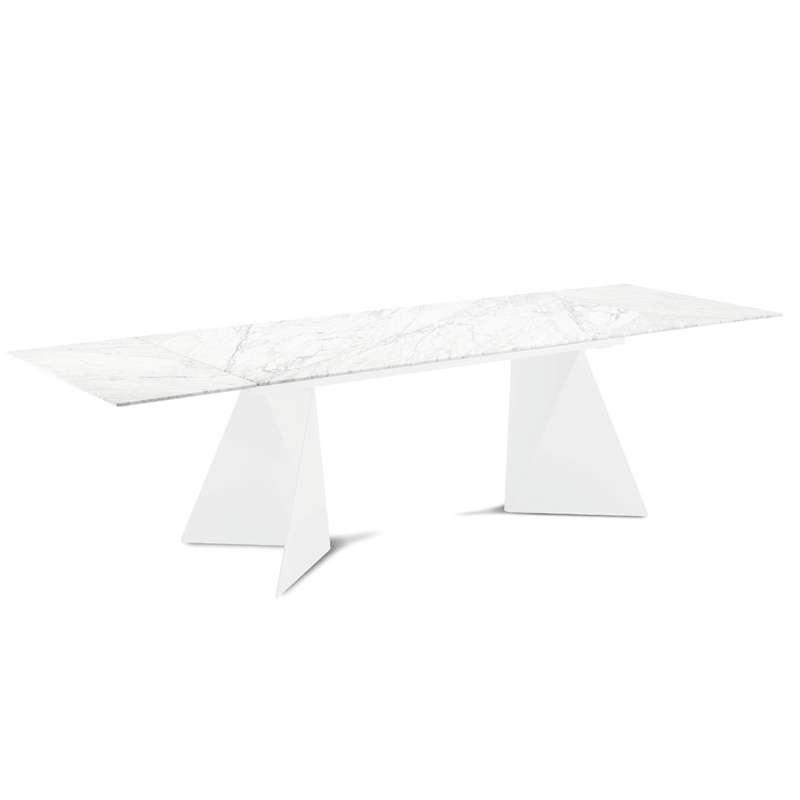 Table Design Extensible En Marbre Blanc Euclide A 4 Pieds Com