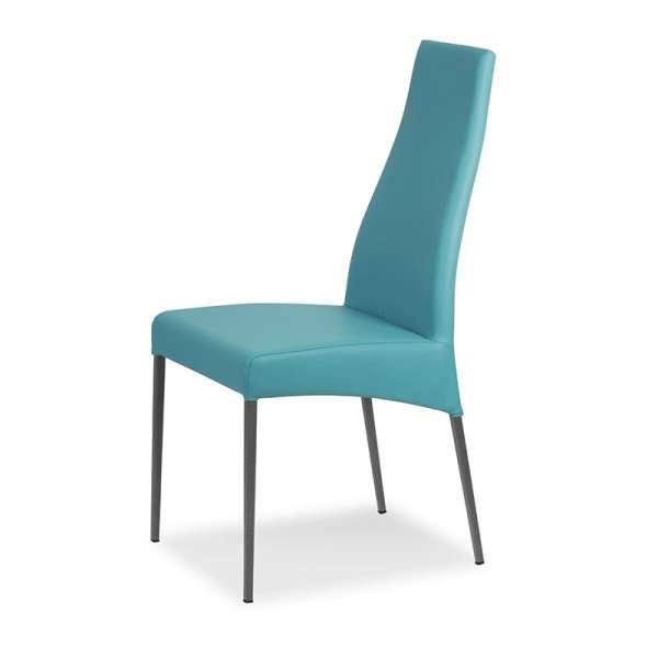 Chaise de salle à manger en vinyle turquoise - Carla - 3