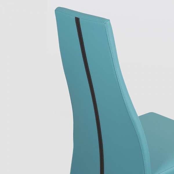 Chaise de salle à manger en vinyle turquoise - Carla 2 - 4