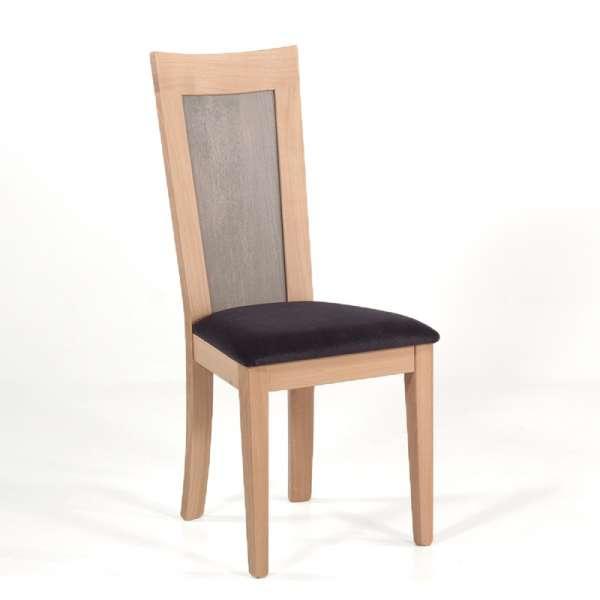 Chaise française dossier bois et assise tissu gris anthracite - Crocus - 8