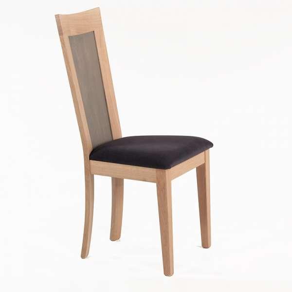 Chaise française dossier bois et assise tissu gris anthracite - Crocus - 2