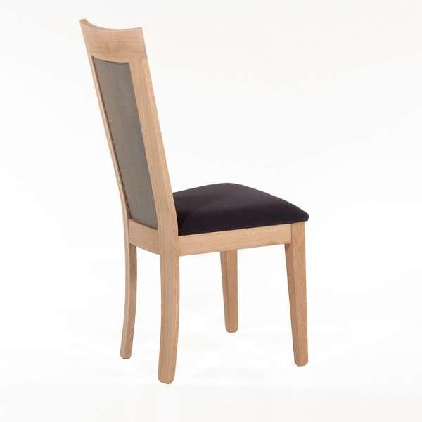 Chaise française dossier bois et assise tissu gris anthracite - Crocus - 3