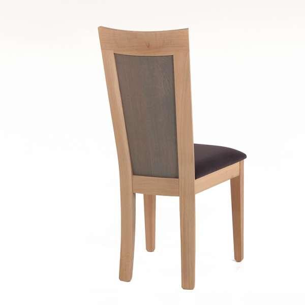 Chaise française dossier bois et assise tissu gris anthracite - Crocus - 4