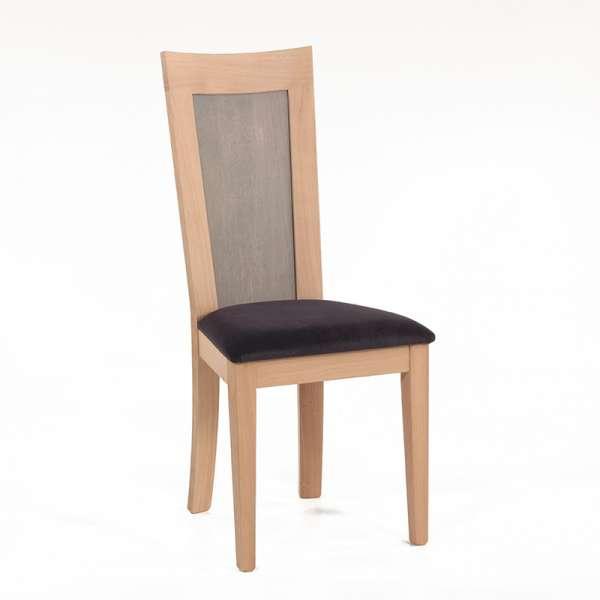 Chaise française dossier bois et assise tissu gris anthracite - Crocus - 1