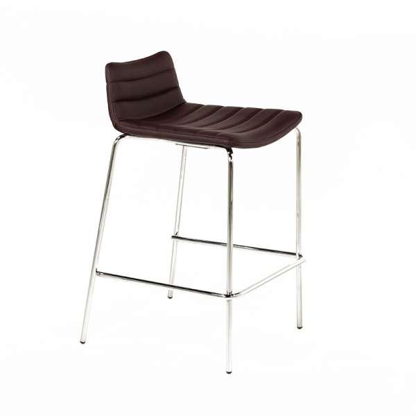 Tabouret snack design en synthétique marron et métal chromé- Cover Midj® - 3