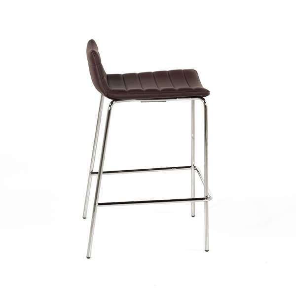 Tabouret hauteur 65 cm design en vinyle marron et métal chromé- Cover Midj® - 4