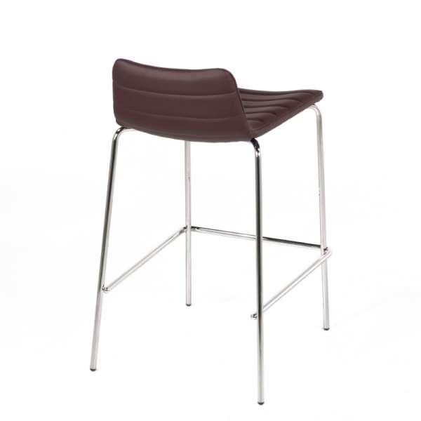 Tabouret design en vinyle marron et métal chromé- Cover Midj® - 5