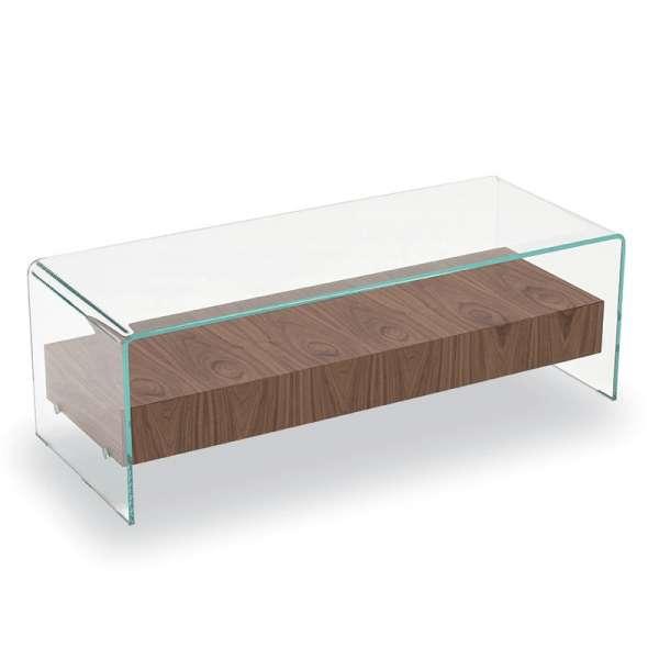Table basse en verre avec tiroir en bois - Bridge Sovet®