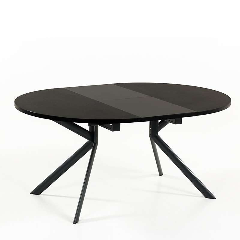 ... Table Ronde En Céramique Noire Extensible   Giove 14   14