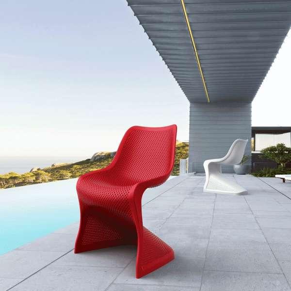 Chaise design en polypropylène rouge ajouré - Bloom - 10