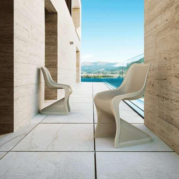 Chaise design en polypropylène beige ajouré - Bloom - 11