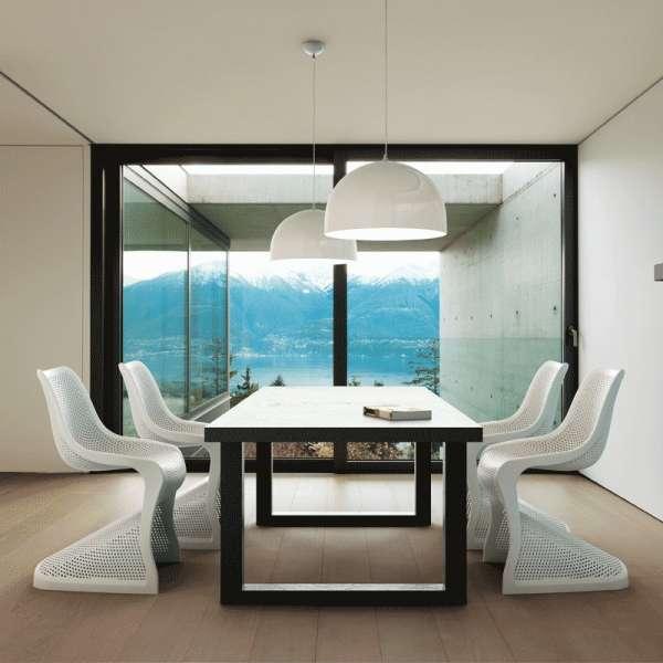 Chaise design en polypropylène blanc ajouré - Bloom - 6